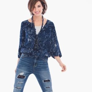 Chico's Black Label flower blossom blouse blue
